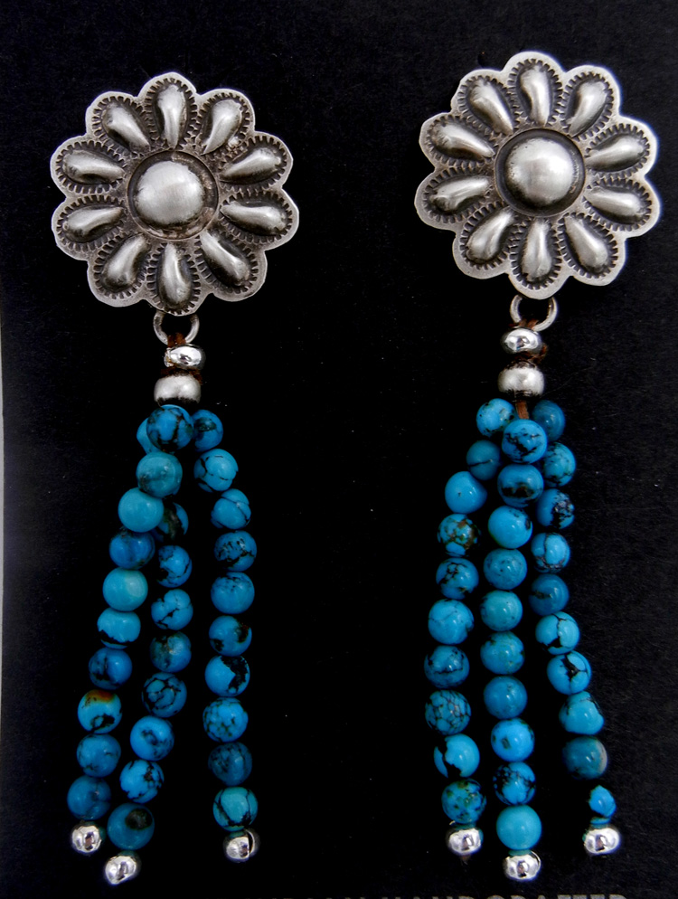 Navajo sterling silver flower and turquoise beaded dangle earrings by Robert Johnson