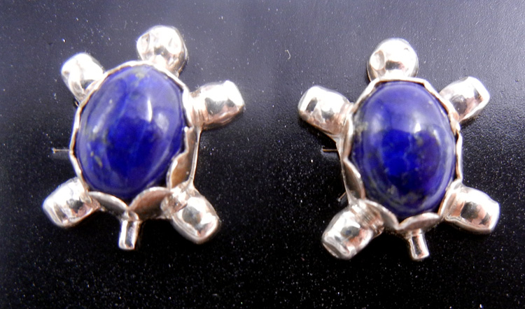 Navajo small lapis and sterling silver turtle earrings
