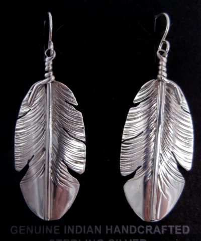 Navajo sterling silver feather dangle earrings by Ben Begay