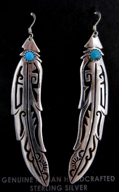Navajo sterling silver overlay and turquoise feather dangle earrings by Rosita Singer