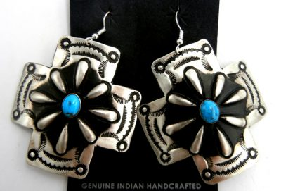 Navajo large brushed sterling silver and turquoise cross dangle earrings by Leander Tahe