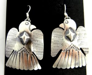Navajo brushed sterling silver thunderbird dangle earrings by Gabrielle Yazzie