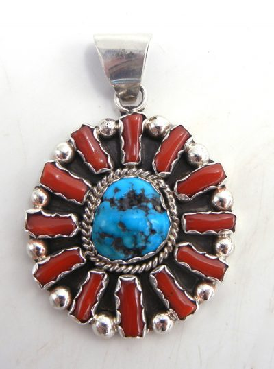 Navajo turquoise, coral and sterling silver cluster pendant by Pearlene Spencer
