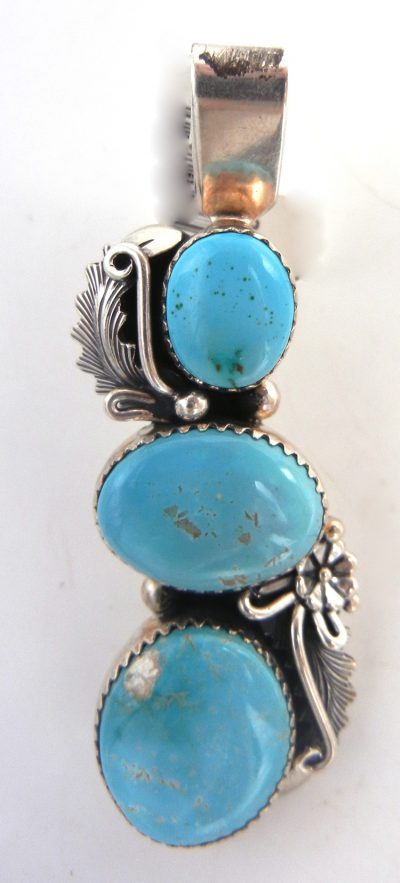 Navajo three stone turquoise and sterling silver pendant by Peterson Johnson