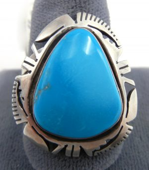 Navajo turquoise and sterling silver ring by Eddie Secatero