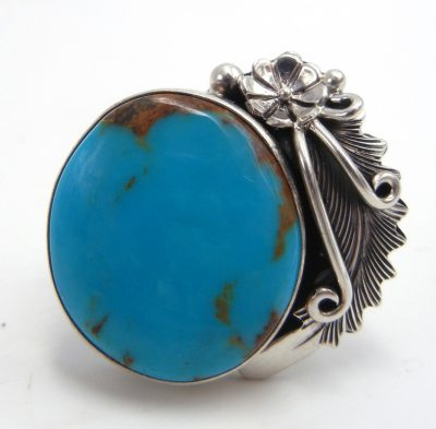 Navajo turquoise and sterling silver ring by Peterson Johnson