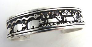 Santo Domingo sterling silver and 14k gold overlay cuff bracelet by Joseph Coriz