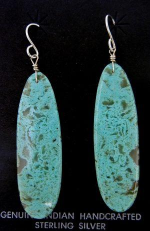 Santo Domingo long turquoise slab earrings by Ronald Chavez