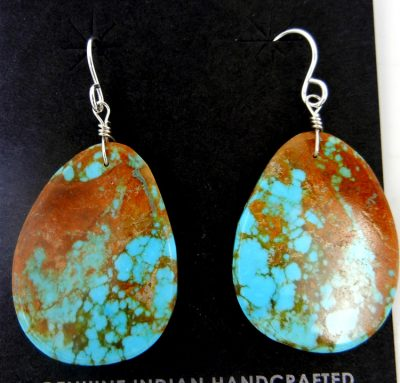 Santo Domingo blue-green turquoise slab earrings by Ronald Chavez