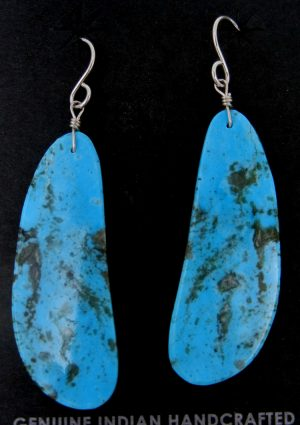 Santo Domingo long turquoise slab earrings by Ronald Chavez