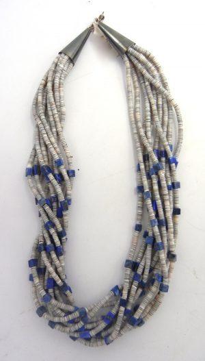 Santo Domingo 10 strand olive shell and lapis heishi necklace