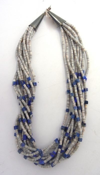 Santo Domingo 10 strand olive shell and lapis heishi necklace