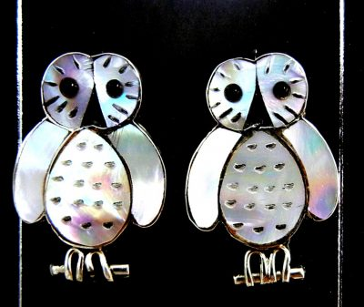 Zuni white mother of pearl and jet inlay owl earrings