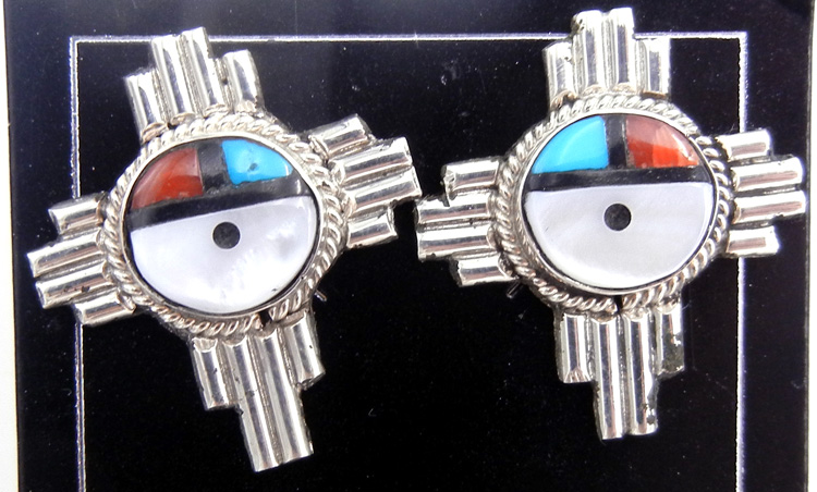 Zuni multi-stone inlay and sterling silver sunface and Zia symbol earrings