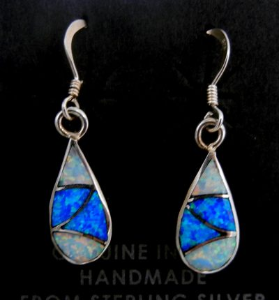Zuni blue and white lab opal and sterling silver small inlay dangle earrings by Orlinda Natewa