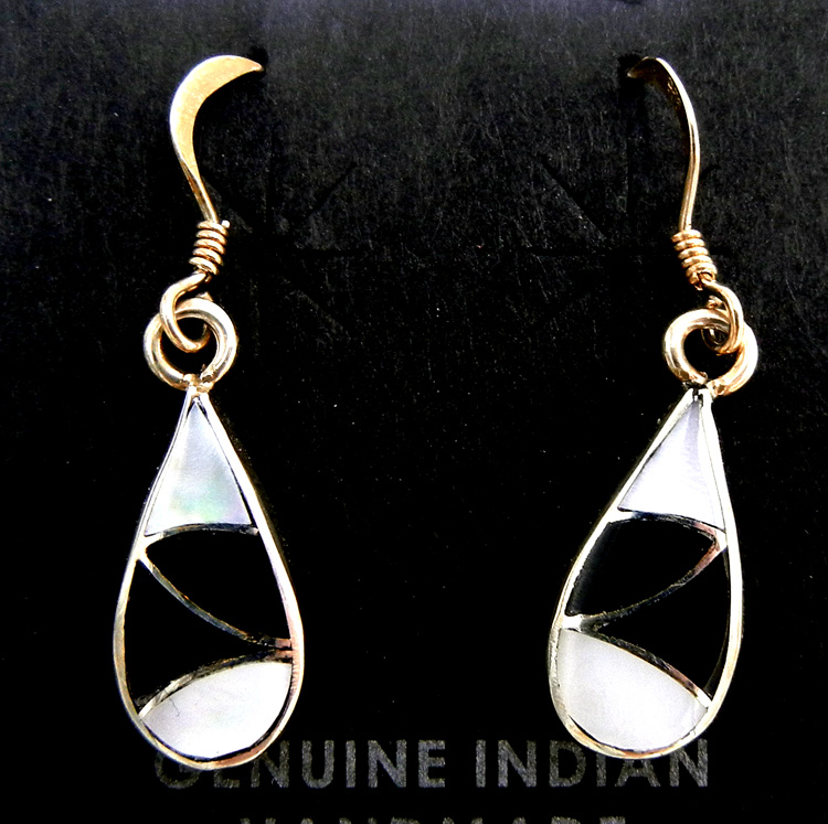Zuni jet, white mother of pearl, and sterling silver inlay tear drop dangle earrings by Orlinda Natewa