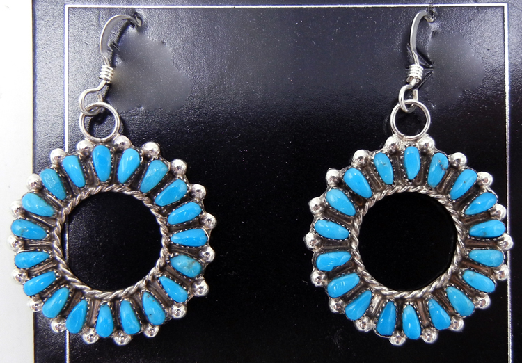 Zuni turquoise and sterling silver circular cut out dangle earrings