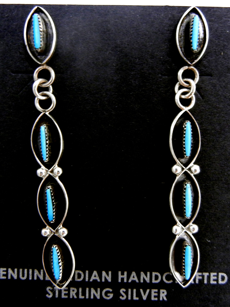 Zuni turquoise needlepoint and sterling silver dangle earrings