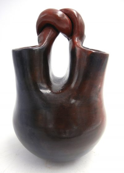 Navajo handmade pine pitch wedding vase with twisted handle by Michelle Williams