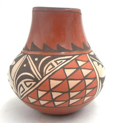Jemez handmade and hand painted small jar with square rim by Juanita Fragua