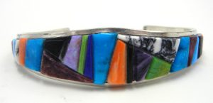 Navajo multi-stone cornrow inlay and sterling silver cuff bracelet