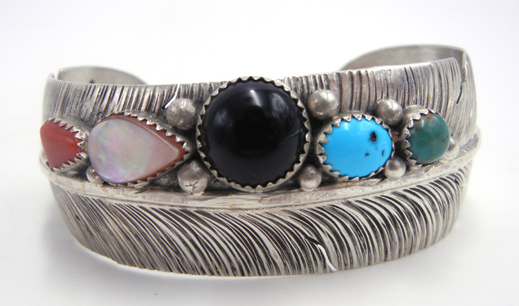 Navajo multi-stone and sterling silver feather cuff bracelet by Ben Begay