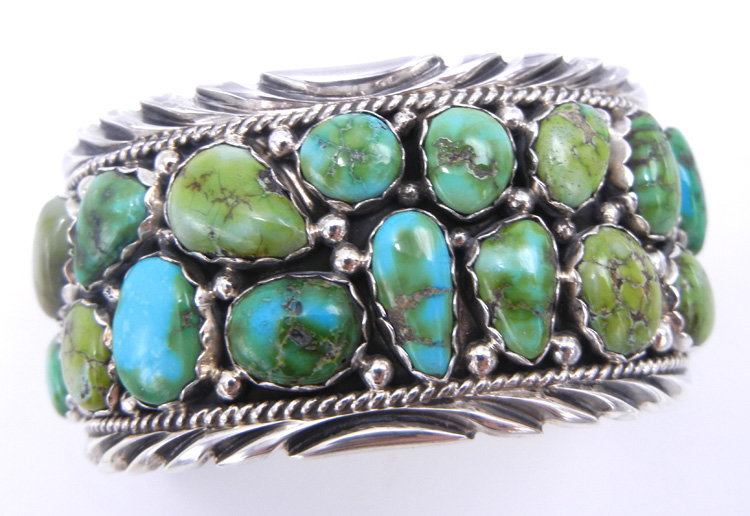 Navajo Sonoran Gold Turquoise and sterling silver cluster cuff bracelet