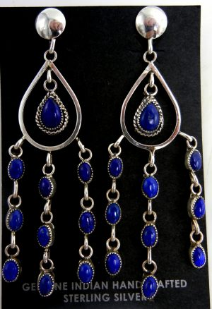 Navajo lapis and sterling silver chandelier dangle earrings