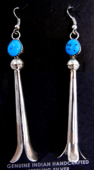 Navajo turquoise and sterling silver long squash blossom earrings by Doris Smallcanyon