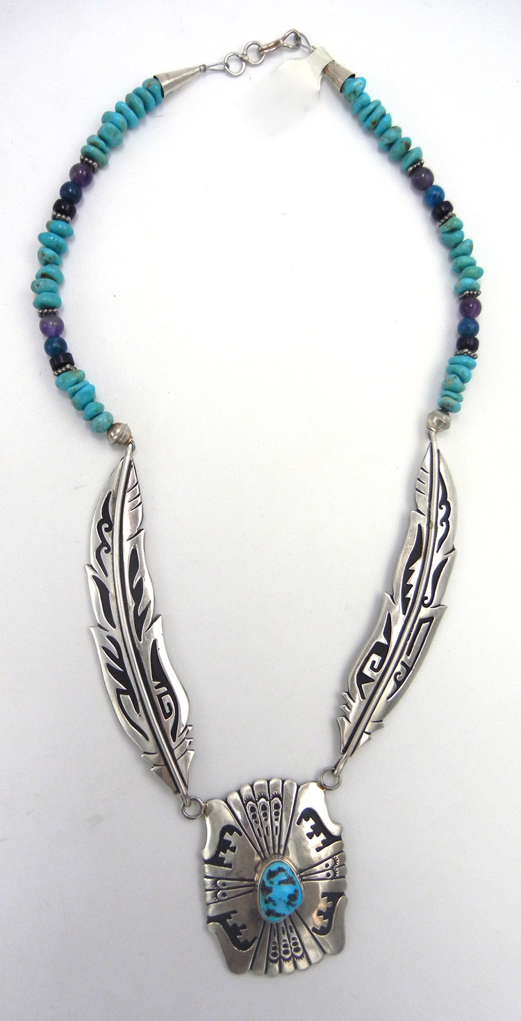 Navajo sterling silver overlay and multi-bead/stone necklace by Rosita Singer