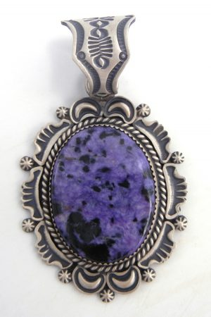 Navajo large Charoite and brushed sterling silver pendant