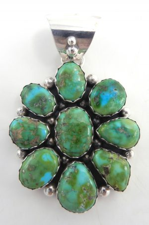 Navajo Sonoran Gold turquoise and sterling silver cluster pendant