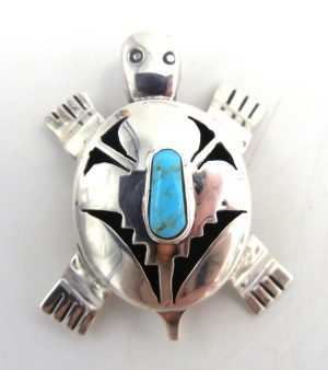 Navajo sterling silver and turquoise shadowbox style turtle pin/pendant by Bennie Ration