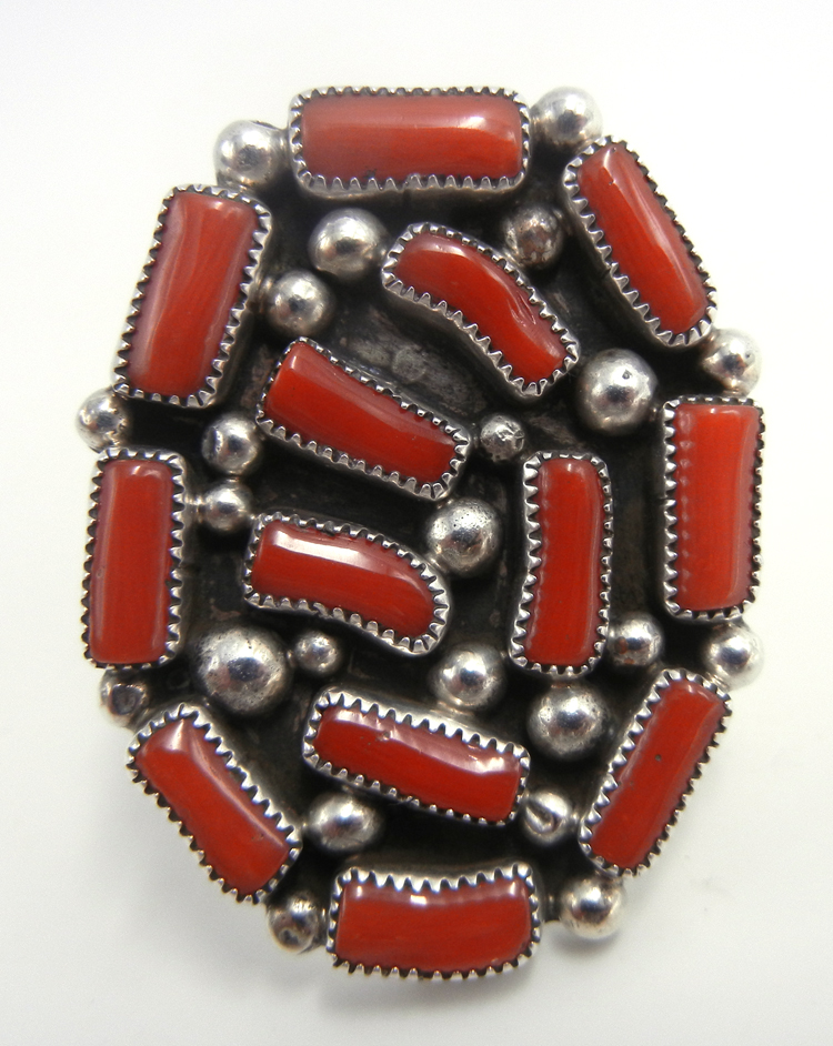 Navajo coral and sterling silver cluster ring