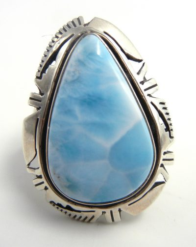 Navajo tear drop shaped larimar and sterling silver ring by Eddie Secatero