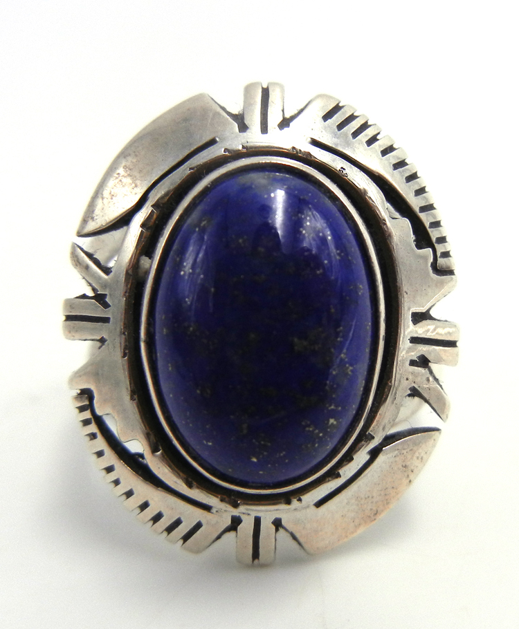 Navajo lapis and sterling silver ring by Eddie Secatero