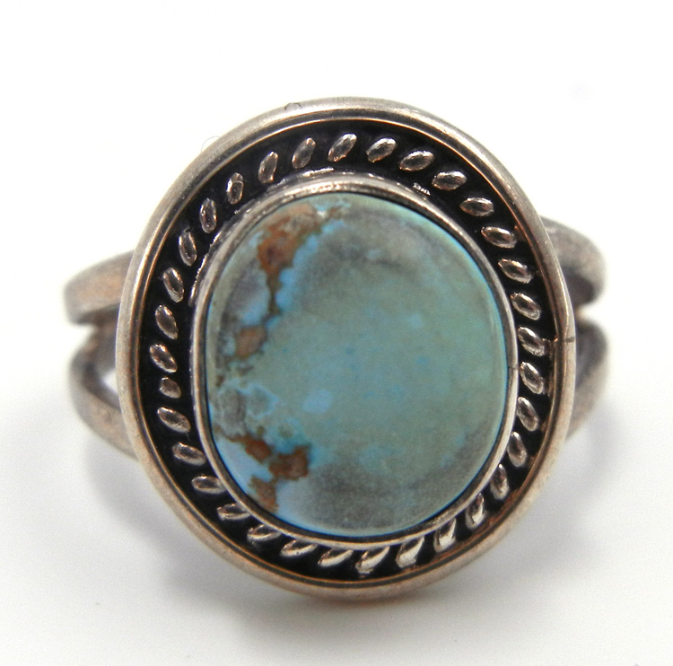 Navajo small Dry Creek turquoise and sterling silver ring