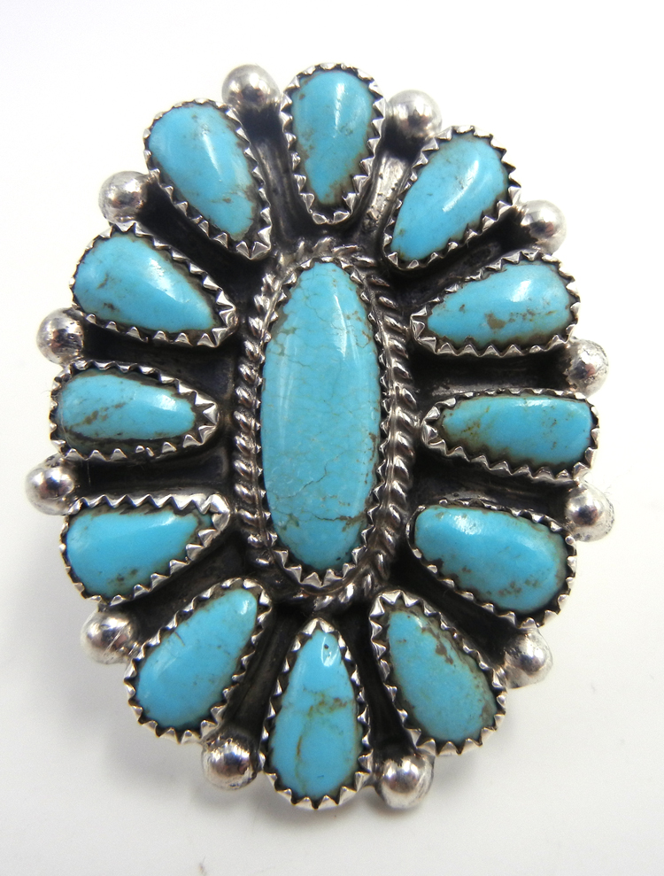 Navajo large Kingman turquoise and sterling silver rosette ring by Mike Platero