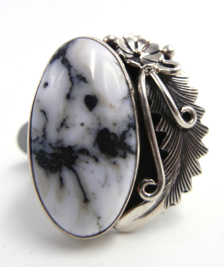Navajo White Buffalo and sterling silver ring by Peterson Johnson