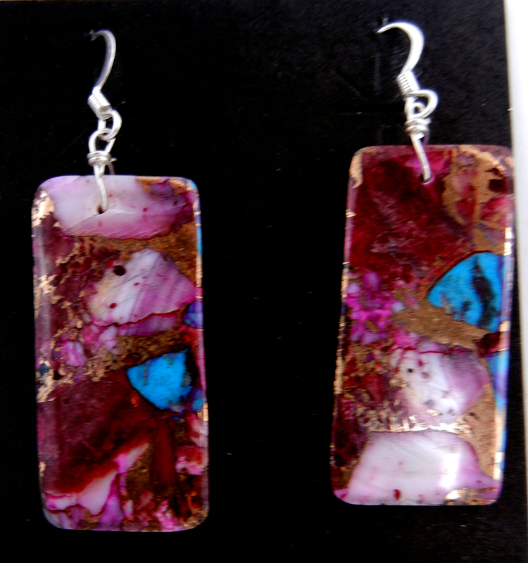 Santo Domingo compressed purple spiny oyster shell and turquoise slab earrings by Veronica Tortalita