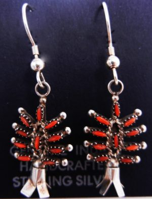 Zuni small coral needlepoint and sterling silver squash blossom earrings