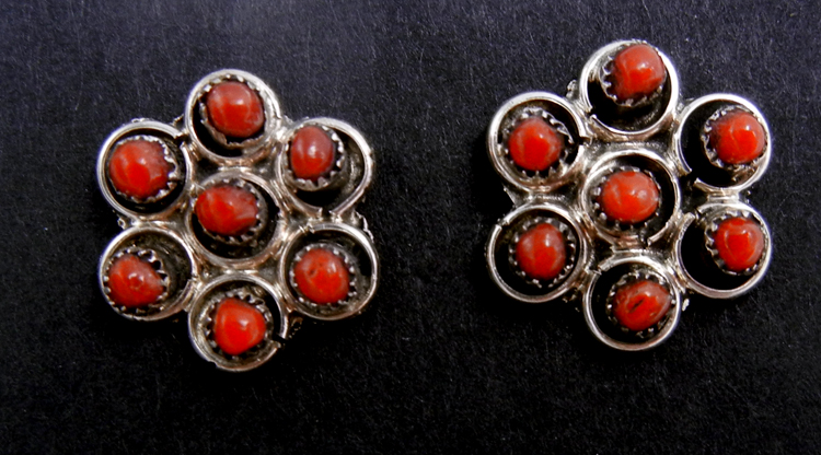 Zuni coral petit point and sterling silver cluster earrings
