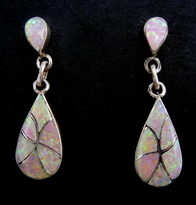 Zuni pink lab opal and sterling silver inlay dangle earrings by Orlinda Natewa