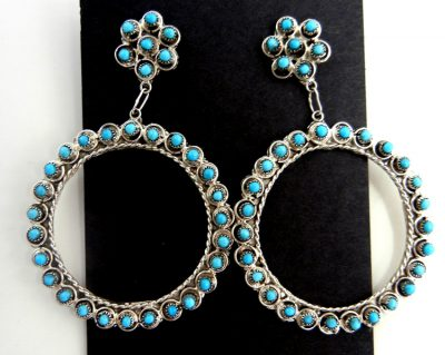 Zuni turquoise petit point and sterling silver circle dangle earrings featuring Sleeping Beauty turquoise