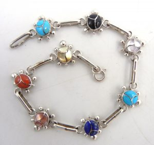Zuni multi-stone inlay and sterling silver turtle link bracelet