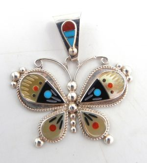 Zuni multi-stone inlay and sterling silver butterfly pendant by Leagus Ahiyite