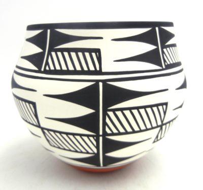 Acoma handmade and hand painted polychrome weather pattern jar by David Antonio