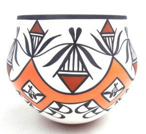 Acoma handmade polychrome weather pattern jar by David Antonio