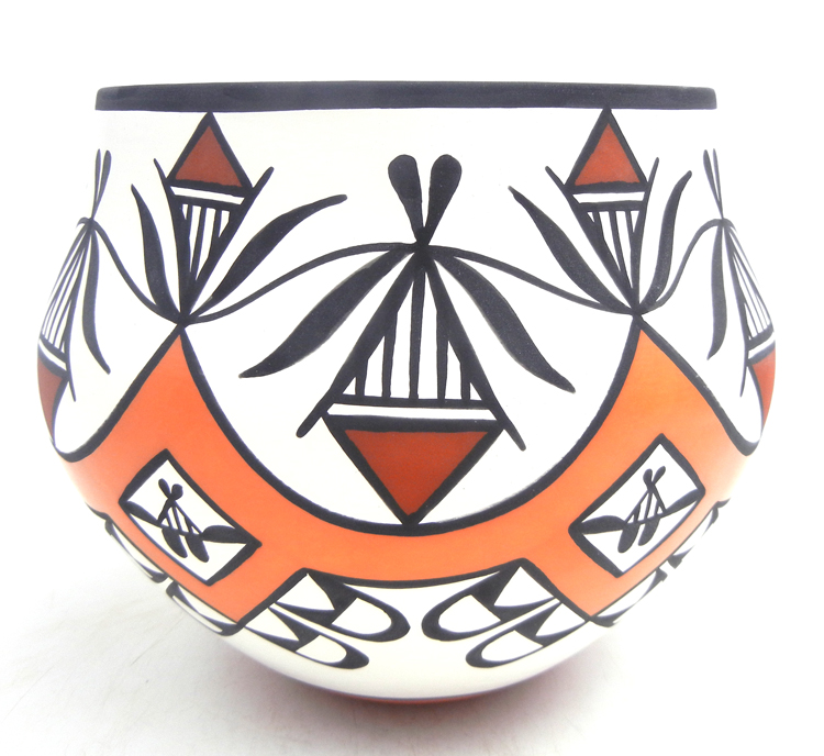 Acoma handmade polychrome weather pattern jar by David Antonio