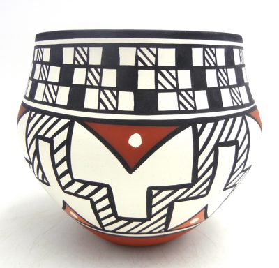 Acoma handmade and hand painted geometric and weather pattern polychrome jar by David Antonio